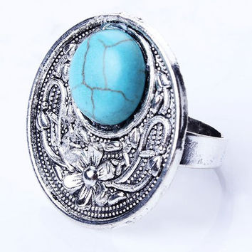 Artificial Turquoise Round Medallion Ring