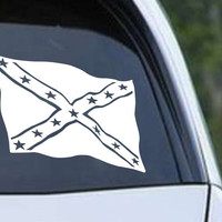 Rebel Confederate Flag Waving Vinyl Die Cut Decal Sticker
