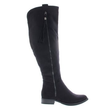 Abela Black By Soda, Equestrian Riding Boots W Stack Heel & Tassel On Zipper