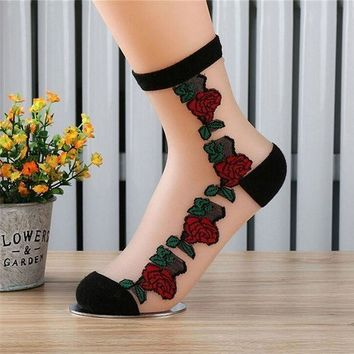 ICIKWJ7 1Pair Rose Flower Pattern Women Lace Ankle Sock Soft Sheer Silk Cotton Elastic Mesh Knit Transparent Ankle Socks