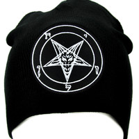 Black Metal Classic Baphomet Beanie Knit Cap Alternative Occult Clothing