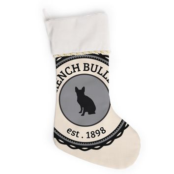 "KESS Original ""French Bulldog"" Beige Dog Christmas Stocking"