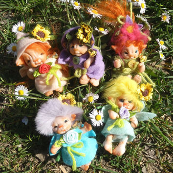 Made to Order-Articulated -Art Doll Ooak Fairy Miniature little magic Gnome Newborn  Fairy Dolls, collectible fairy dolls,polymer clay dolls