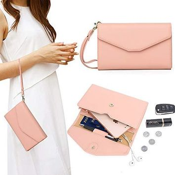 Zg Wristlets for Women Cell Phone Clutch Wallet Passport Wallet All In One Purse Extra Capacity