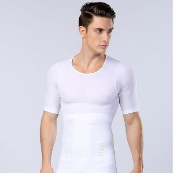 ac NOOW2 Men Chest Shaper Bodybuilding Slimming Belly Abdomen Tummy Fat Burn Posture Corrector Compression Shirt Corset For Male NY094