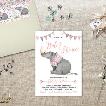 Girl Baby Shower Invitation Printable Hippo Baby Shower Invite Pink Grey Baby Shower DIY Baby Shower Printable Baby Shower Digital Download