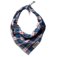 Blue, Navy, Red and White Plaid Bandana- Fulton