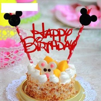 1set Mickey mouse theme Happy birthday cupcake cake topper cake flags baby shower kids paper baking supplies Party Decoration