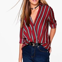 Eleanor Striped Wrap Front Shirt | Boohoo
