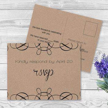 Kraft Paper RSVP Postcard Card Template - Swrils Rustic Kraft Paper Wedding Response Postcard Card Editable PDF Templates - DIY You Print
