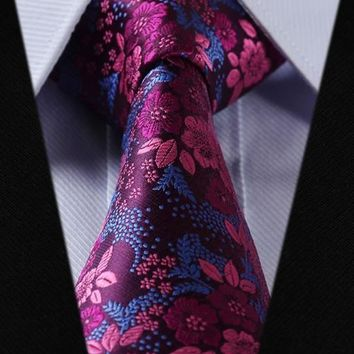 Dark Magenta Paisley Tie with Deep Pink and Medium Blue Accent Design
