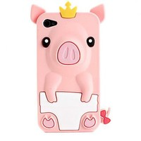 Pink Cute Pig Protective Silicone Case for iPhone 4 and 4S