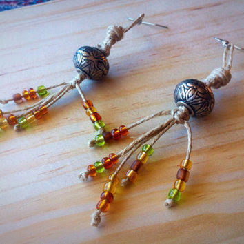 Macrame Hemp Earrings - Boho Chic Accessories - Bohemian Jewelry - Tribal Earrings - Beaded Tassel Earrings - Boho Style - Green Brown #230