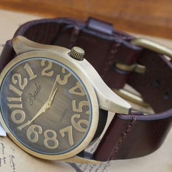 Leather Men Watch by ChaiShop on Etsy
