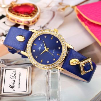 Reloj Mujer Missfox Blue Ladies Gold Watch Women Casual Quartz Watch Square Pendant Diamond Steel Woman Clock Hours For Female