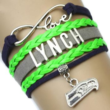 Infinity Love Seattle Football Team Seahawks Team Lynch Bracelet Navy Green Grey Color - Customizable