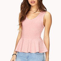 FOREVER 21 Textured Peplum Top