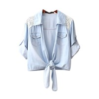 CrazyPomelo Lace Shoulder Lace-up Short Denim Shirt Tops For Women
