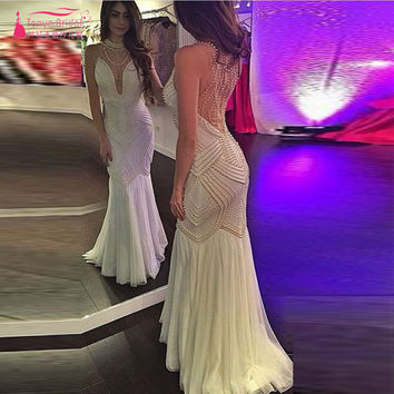 Amazing Luxury Pearls Sexy Mermaid Prom Dresses Ivory Long Evening Dresses Brides Dresses formal Gowns Z828