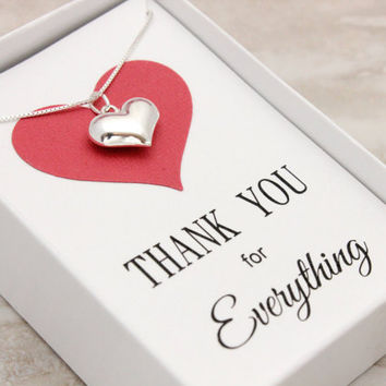 Thank you gift for friend Sterling silver heart necklace, bridal or baby shower hostess gift, appreciation gifts, thank you gifts for women