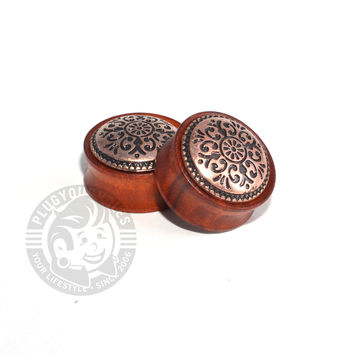 Rose Wood Antique Tribal Wood Plugs