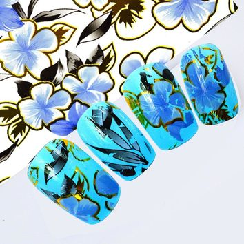 100cmx4cm 2017 Elegant Designs Blue Flower Nail Art Transfer Foils DIY Polish Glue Adhesive Decals for Nails Toes STZXK51