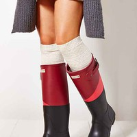 Hunter Original Asymmetrical Colorblock Waterproof Rain Boot- Plum