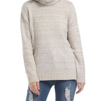 New Khaki Cut Out Side Slit High Neck Long Sleeve Casual Sweater