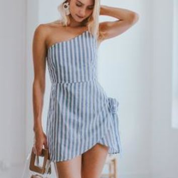 'Candida' Single Shoulder Striped Linen Mini Dress