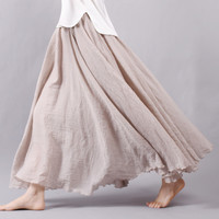 Women Linen Cotton Long Skirts Elastic Waist Pleated Maxi Skirts Beach Boho Vintage Summer Skirts Faldas Saia