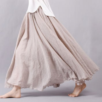 Sherhure 2017 Women Linen Cotton Long Skirts Elastic Waist Pleated Maxi Skirts Beach Boho Vintage Summer Skirts Faldas Saia