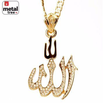 "Jewelry Kay style Men's Hip Hop Iced Out Gold Toned 3D ALLAH 24"" 5mm Cuban Chain Pendant Necklace"