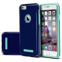 Evocel¨ iPhone 6 / iPhone 6s [DUO Layer Series] Slim Dual Hybrid Bumper Style Case for iPhone 6 & iPhone 6s (4.7 inch), Navy & Mint (EVO-IPH6-HY70)