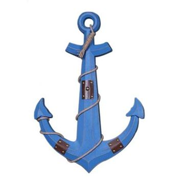 Wood Wall Hanging Decoration Anchor Mediterranean Style   blue