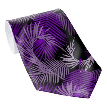 Purple Palm Leaves Pattern Neck Tie