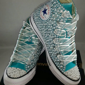 Bridal Converse- Wedding Converse- Bling   Pearls Custom Convers cbfdd5c00