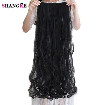 SHANGKE SHANGKE 80CM 100CM Long Wavy Women Clip in Hair Extensions Heat Resistant Synthetic Hair Piece Black Colour Hairstyle