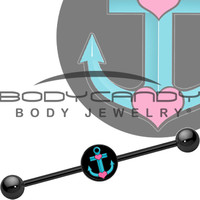 Tattoo Inspired Titanium Turquoise Nautical Love Anchor Industrial Barbell | Body Candy Body Jewelry