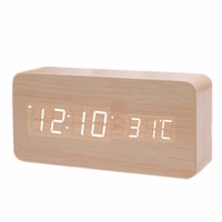 2 Types Wooden Clock Creative LED Environmental Protective Home Furnishing Mini Electronic Alarm Clock Digital Clock