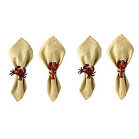 Lobster and Crab Coastal Maine Napkin Rings - Set of 4