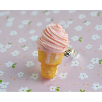 Strawberry Soft Serve Ice Cream Cone Adjustable Ring, Polymer Clay Miniature Food Jewelry