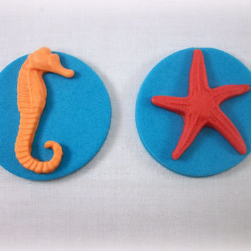 Under the Sea Fondant Edible Cupcake Topper Party Decor Mermaid Starfish Seahorse Summer Birthday Baby Bridal Shower Beach Wedding- set 12