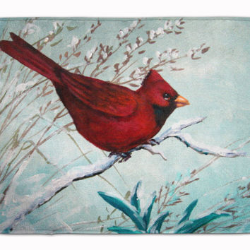 Cardinal Winter Red Bird Machine Washable Memory Foam Mat PJC1110RUG
