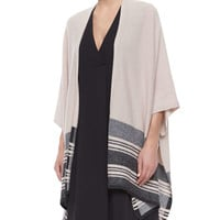 Women's Striped-Hem Knit Poncho Cardigan - Vince - New buff/H carbon
