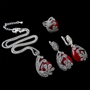 Retro Turkish Vintage Silver Plated Necklace Earrings Ring Crystal Stone Turquoise Jewelry Set For Women