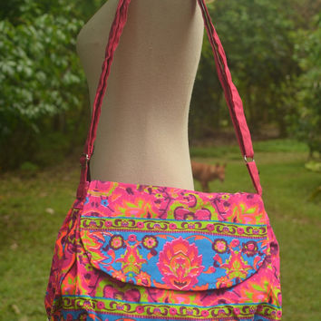 Paint bag, Colorful Neon Printed, Purse Hobo Hippie, Sling, Crossbody, Shoulder, Hipster bag, Weekender bag, Backpack, School, Boho Hobo bag