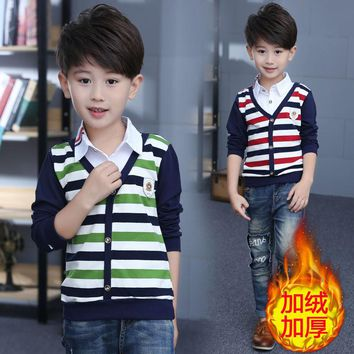 Autumn Winter Striped Boy T Shirt Pullover Boys T-Shirts Warm Kids Clothes Casual Thicken Children Clothing Blusas Baby Tops Tee