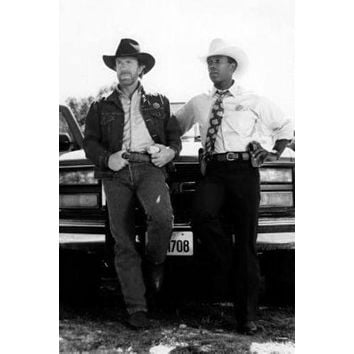 Walker Texas Ranger poster Metal Sign Wall Art 8in x 12in Black and White