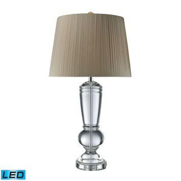 Castlebridge LED Table Lamp In Clear Crystal With Light Grey Shade Clear Crystal