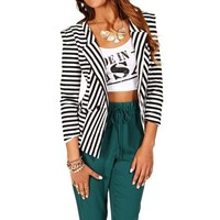 BlackWhite Striped Blazer